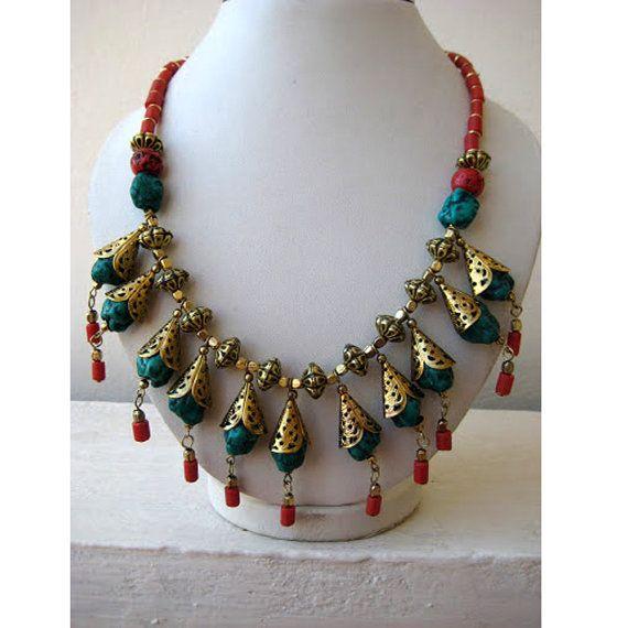 Bohemian, Collier Collier/Chunky collier/bulle/déclaration de Collier Collier/Bib Necklace - bijoux en perles de charme de turquoise et corail