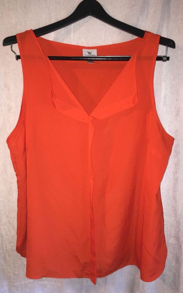 210196a5933 WORTHINGTON Plus Size 1X Women Blouse Sleeveless Orange Semi Sheer V-neck  Top  Worthington  Blouse  Casual