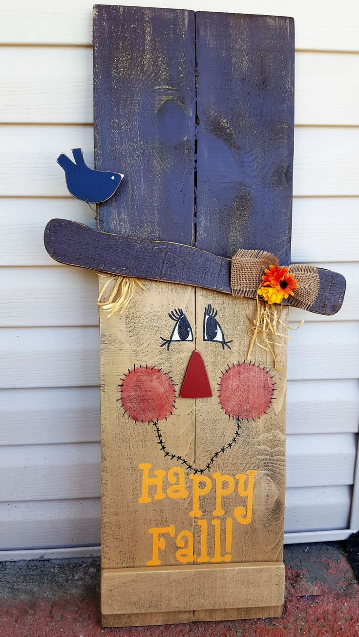 Reversible Fall Winter Sign, 2 in 1 Sign Snowman Scarecrow porch decor, Happy Fall, Let it Snow by OurLittleCountryShop on Etsy