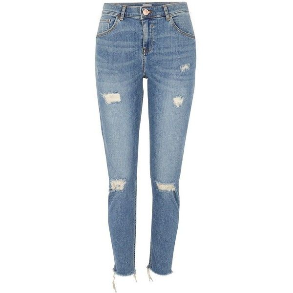 River Island Mid blue ripped Alannah relaxed skinny jeans ($84) ❤ liked on Polyvore featuring jeans, pants, bottoms, skinny jeans, blue, women, denim skinny jeans, distressed jeans, destroyed skinny jeans and ripped jeans