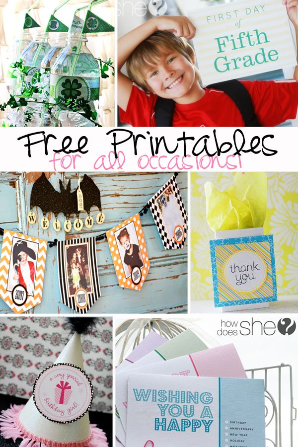 FREE Printables for ALL Occasions!Ideas, Freebies Site, Baby Animal, Printables Clips, Free Stuff, Howdoesshe Com, Free Printables, Crafts, Clips Art