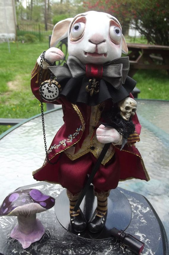 """The """"Mad Rabbit"""" art doll, Alice in Wonderland inspired. Made using polymer clay by Clementine's Art Dolls."""