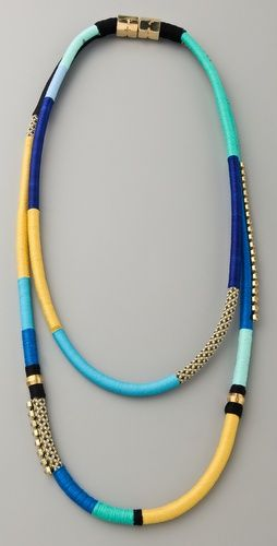 .These Wrapped necklaces are gorgeous!  Using a plastic shopping bag and cotton thread or yarn they can be made in any combination of colors you desire.