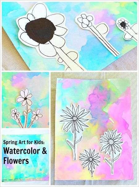 Spring Art for Kids: Ink Drawn Flowers on a Watercolor Background- Can be done as a collaborative art project or independently. Combines all kinds of cool process art techniques! Perfect for preschool, kindergarten, and elementary. ~ BuggyandBuddy.com