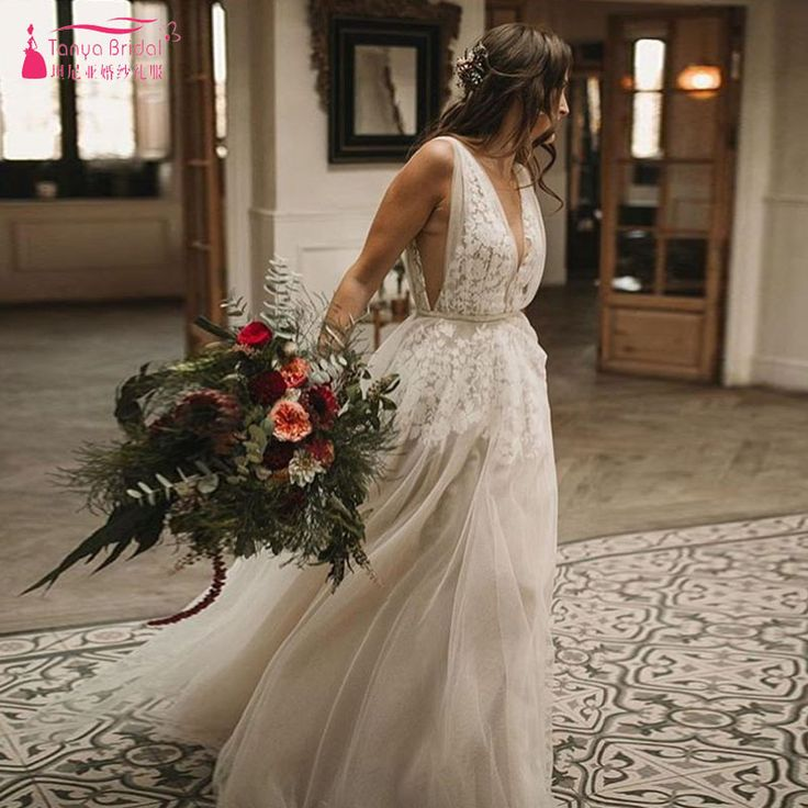 Find More Wedding Dresses Information about Deep V Neck Bohemian Wedding Dresses Nude Lining 2019 Fashion GYPSY Romantic Bridal Gowns robe de soiree Custom ZW133,High Quality Wedding Dresses from Tanya Bridal Store on Aliexpress.com