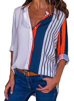 Lässige Kleidung Lange Ärmel Farbquadrat Kragen …