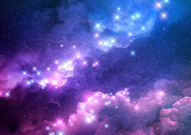 Abstract Pink And Blue Galaxy Background Filled With Bright Stars