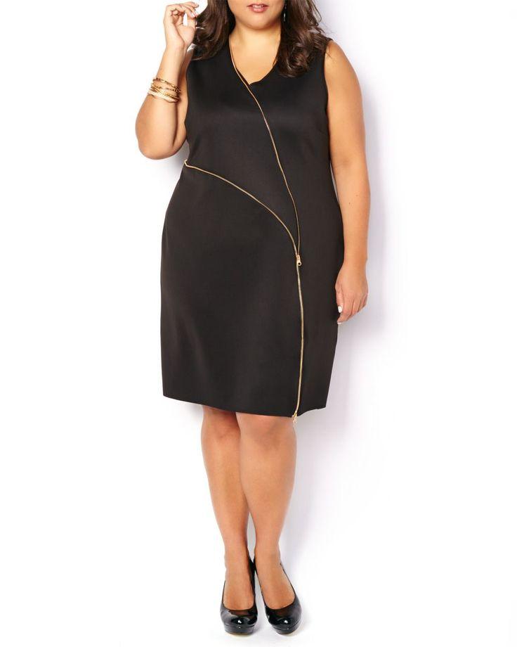 ONLINE ONLY - Sleeveless Zipper Detail Dress #penningtons #plussizetrends #plussizefashion #plussizedresses