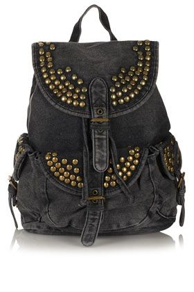 Studded Denim Backpack...need for vacay