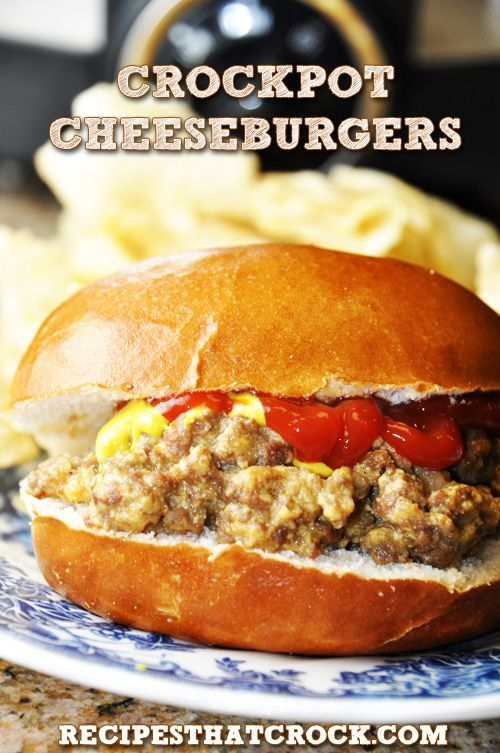 Slow Cooker Cheeseburger Sandwiches- So easy to throw in the crock pot. They taste like White Castles!