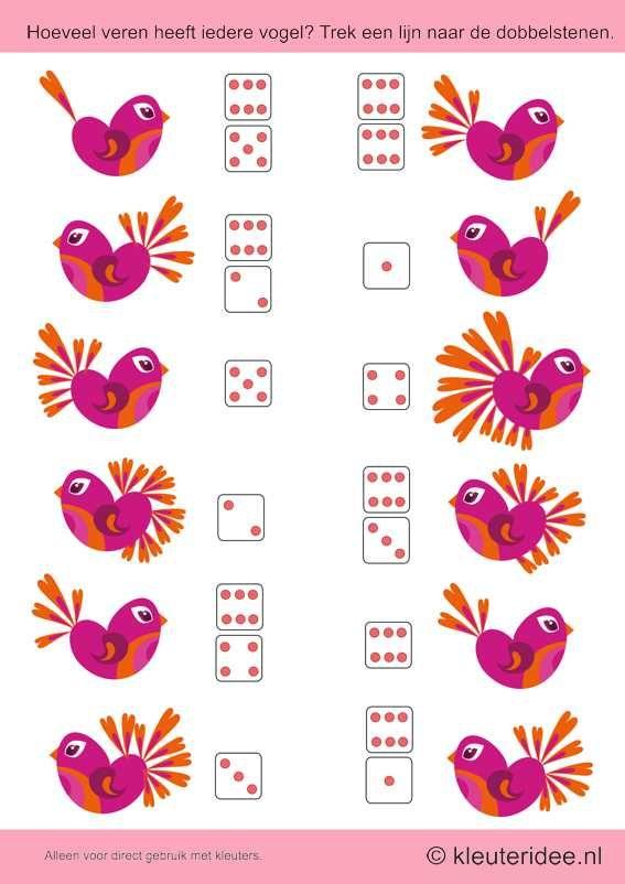 Hoeveel veren heeft iedere vogel. Trek een lijn naar de dobbelstenen, kleuteridee.nl , thema lente voor kleuters,How many feathers, each bir...