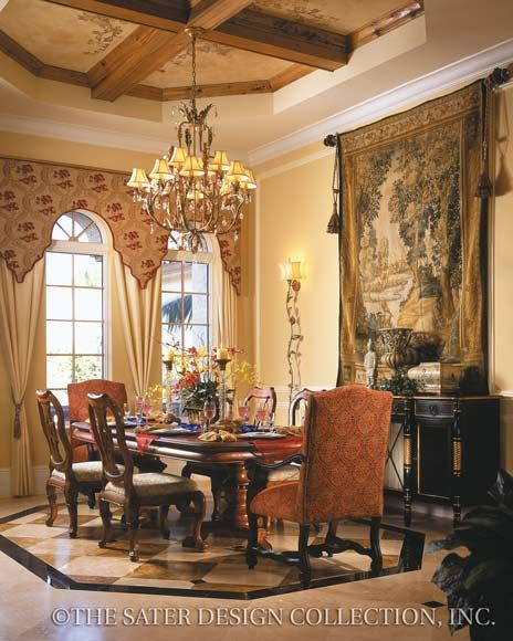 "Dining Room. The Sater Design Collection's luxury, European home plan ""Porto Velho"" (Plan #6950). saterdesign.com"