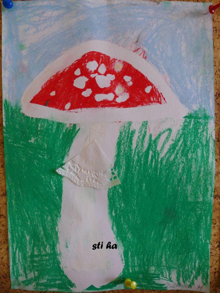 muchomůrka - vymývaná klovatina, suchý pastel