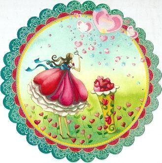 Runde Postkarte ~ Nina Chen ~ Frau mit Seifenblasen