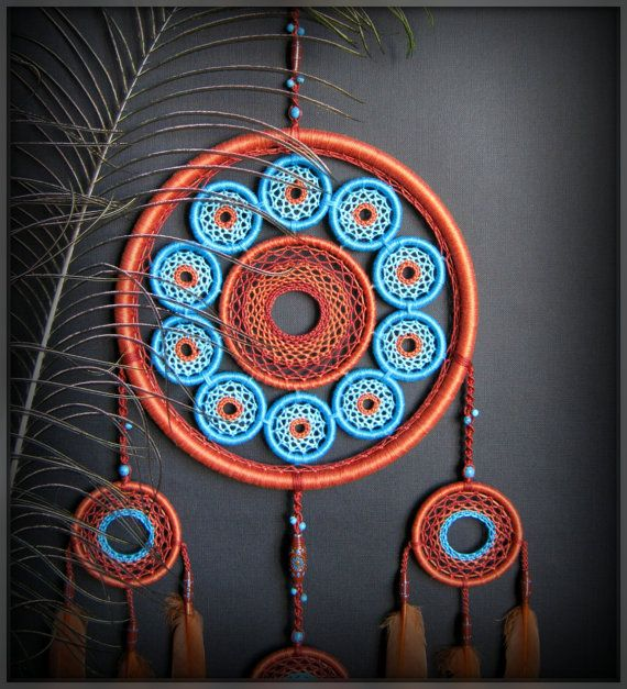 Big Dreamcatcher many hoop brown turquoise oriental style