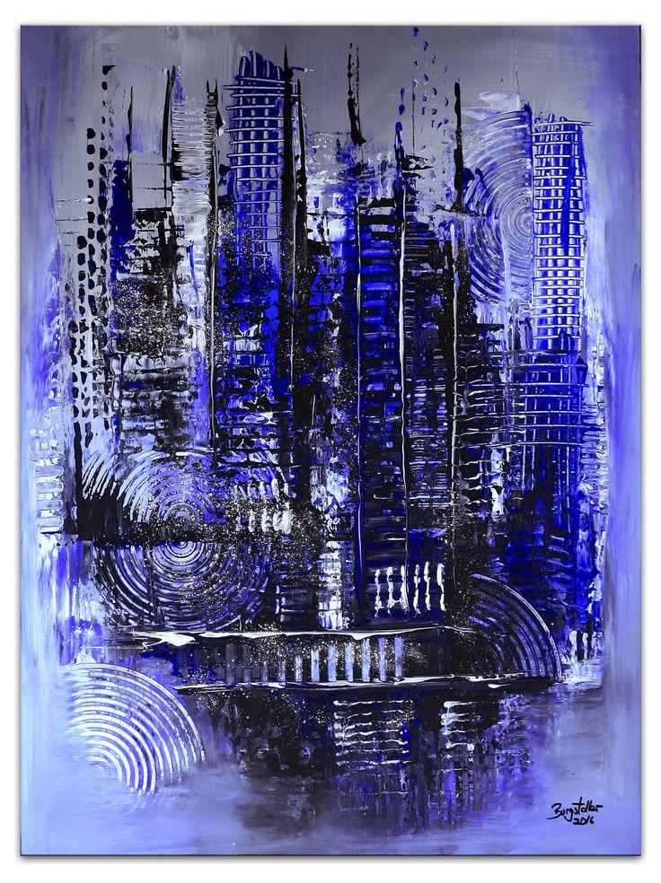Großstadtleben BLAU Silber - Abstrakte Malerei - Abstrakte Kunst  - Acrylbilder kaufen  #abstraktekunst #blau #skyline #originalbilder #leinwandbilderkaufen #blauekunst