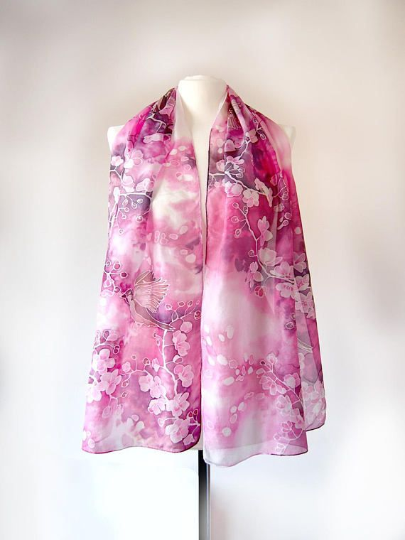 Cashmere Silk Scarf - In Apple Blossom Time by VIDA VIDA