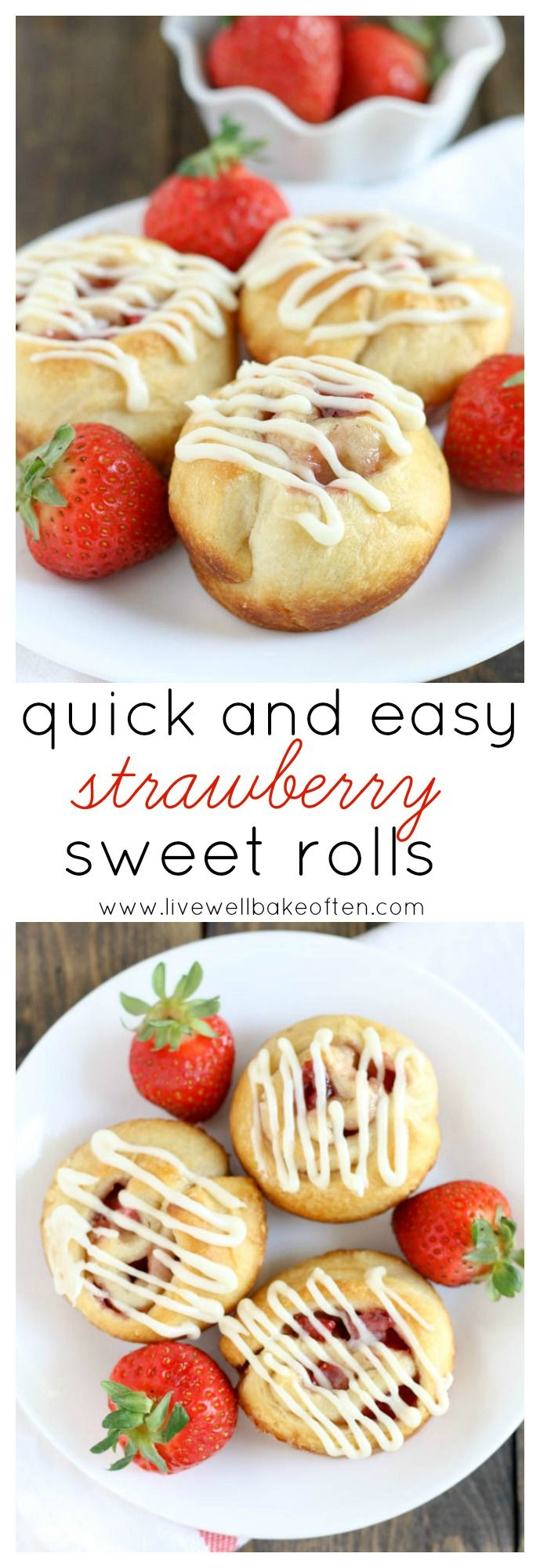 Easy strawberry sweet rolls topped with a delicious cream cheese frosting. These are perfect for breakfast or brunch and even make a great dessert!