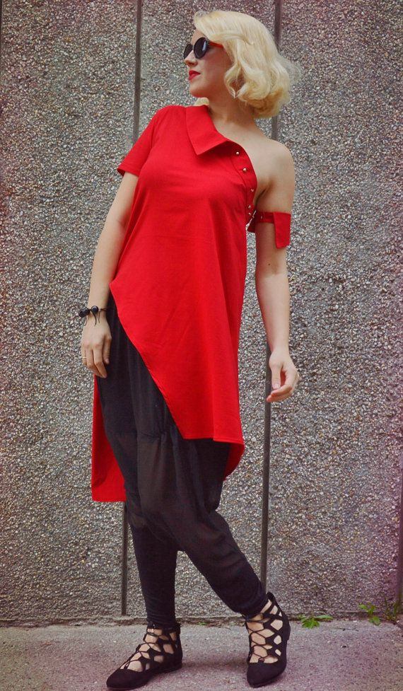 Extravagant Red Top / Funky Red Tunic / Asymmetrical Cotton Top / Long Extravagant Red Blouse TT80 / S/S 2016