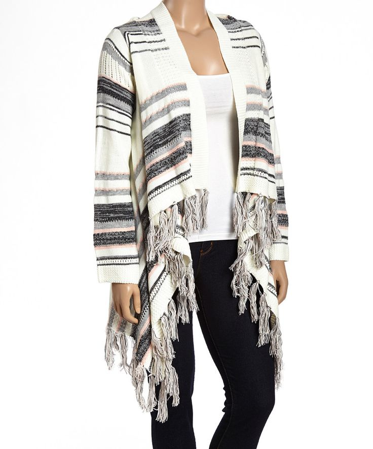 Look what I found on #zulily! Allie & Rob Ivory & Pink Stripe Fringe Open Cardigan - Plus by Allie & Rob #zulilyfinds
