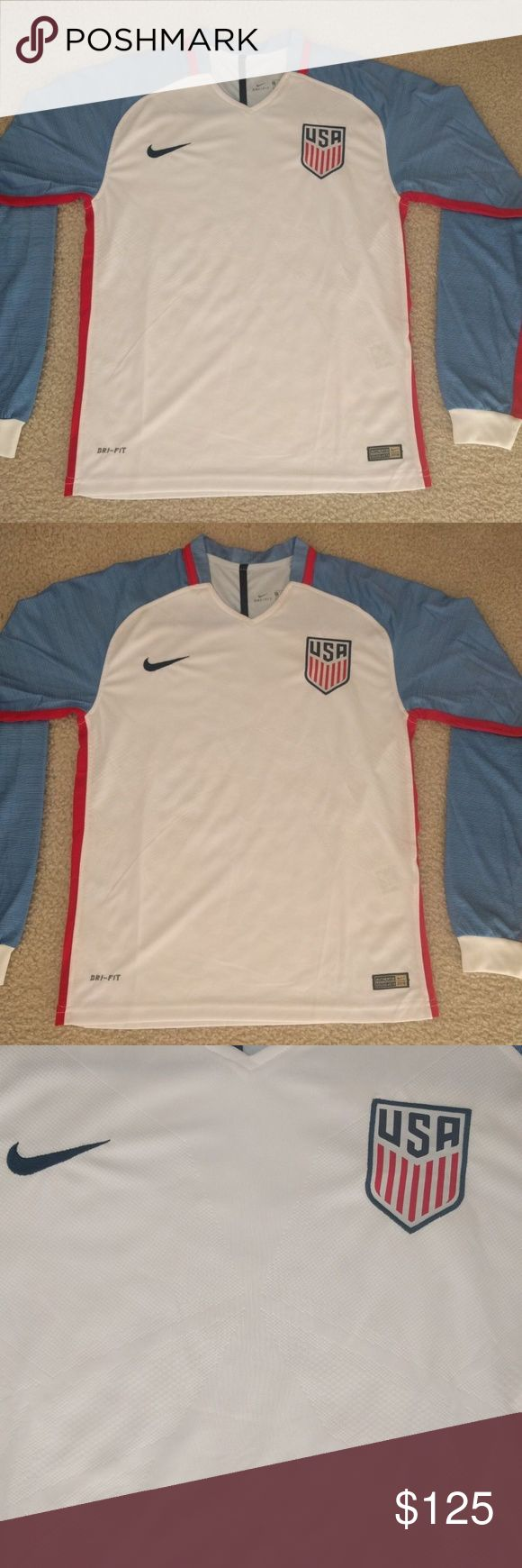 USA Soccer Jersey US USMNT Rare Player Issue Match USA Soccer Jersey US USMNT Rare Player Issue Match Long Sleeve Size Medium  Nike USA soccer jersey in a men's size medium. Jersey is player issue, which means it fits tighter than regular jerseys. Rare player issue long sleeve.Worn by the USMNT during the 2016 Copa America and 2018 World Cup Qualifiers. Nike Shirts Tees - Long Sleeve