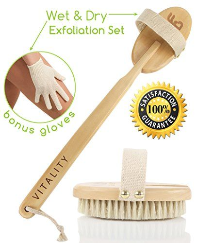 Best Dry Body Brush & Wet Exfoliating Set for Effective Skin Exfoliation & Lymphatic Drainage, Reduce Cellulite & Improve Circulation, Bonus Shower Gloves & Body Brushing-Detox Guide, Great GIFT - http://best-anti-aging-products.co.uk/product/best-dry-body-brush-wet-exfoliating-set-for-effective-skin-exfoliation-lymphatic-drainage-reduce-cellulite-improve-circulation-bonus-shower-gloves-body-brushing-detox-guide-great-gift/