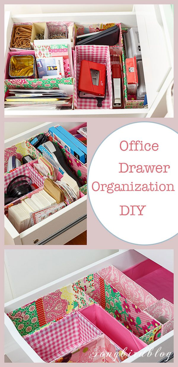Office drawer organizing. A DIY project using old boxes. Free, easy and so prett…