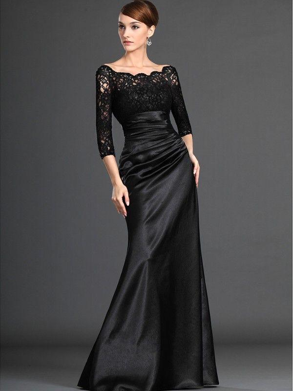 A-line/Princess Off the Shoulder 3/4 Sleeves Elastic Woven Satin Dresses $135