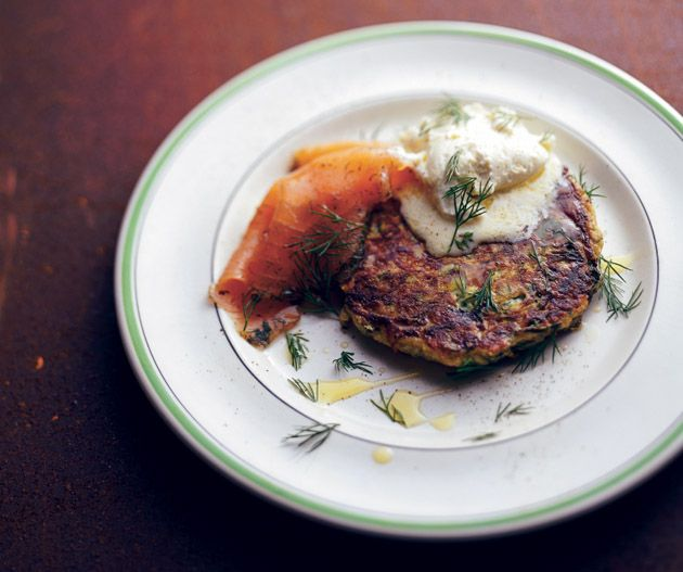 Tobie Puttock's Zucchini fritters with gravlax and goat's curd.