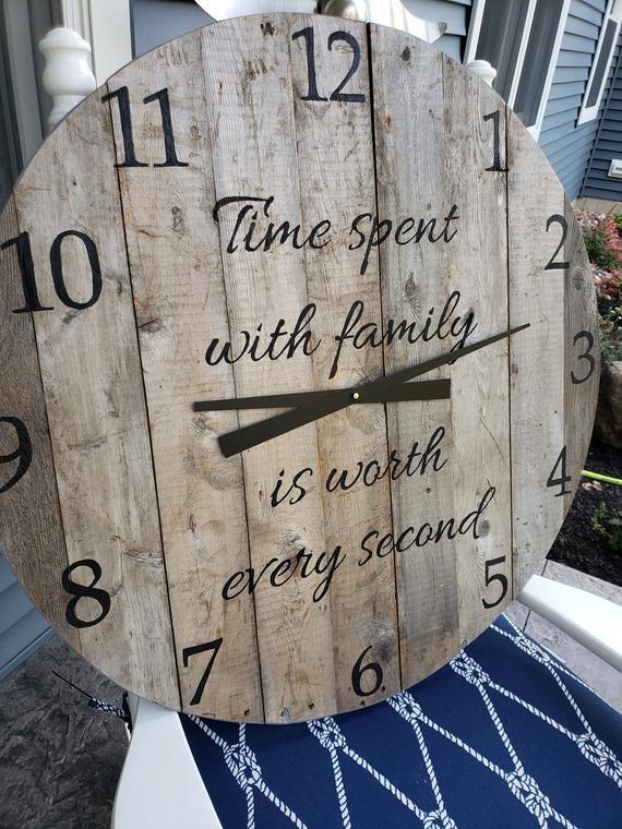 Large Pallet Wood Wall Clock Rustic Reclaimed Farmhouse Etsy Rustic Wall Clocks Wood Wall Clock Farmhouse Wall Clocks