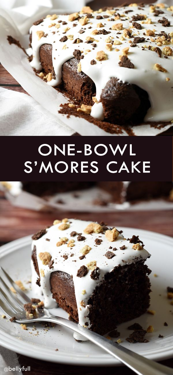 Moist chocolate cake with a gooey marshmallow top, then sprinkled with crushed graham crackers. The ultimate cake for the s'mores lover!