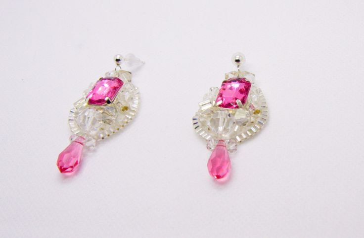 Pink and Clear Swarovski Crystal Tear Drop Earrings by Tiffydesigns on Etsy