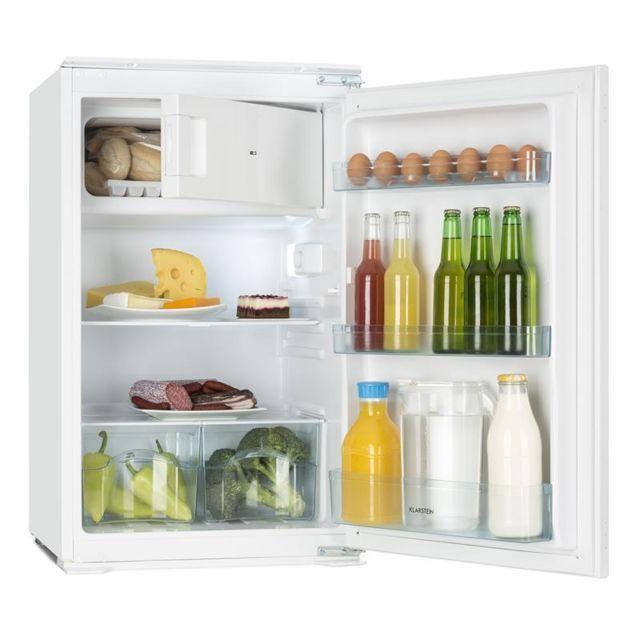 Klarstein Coolzone 120 Refrigerateur Encastrable 105l Freezer 15l Classe A Refrigerateur Encastrable Etagere En Verre Et Frigo Encastrable