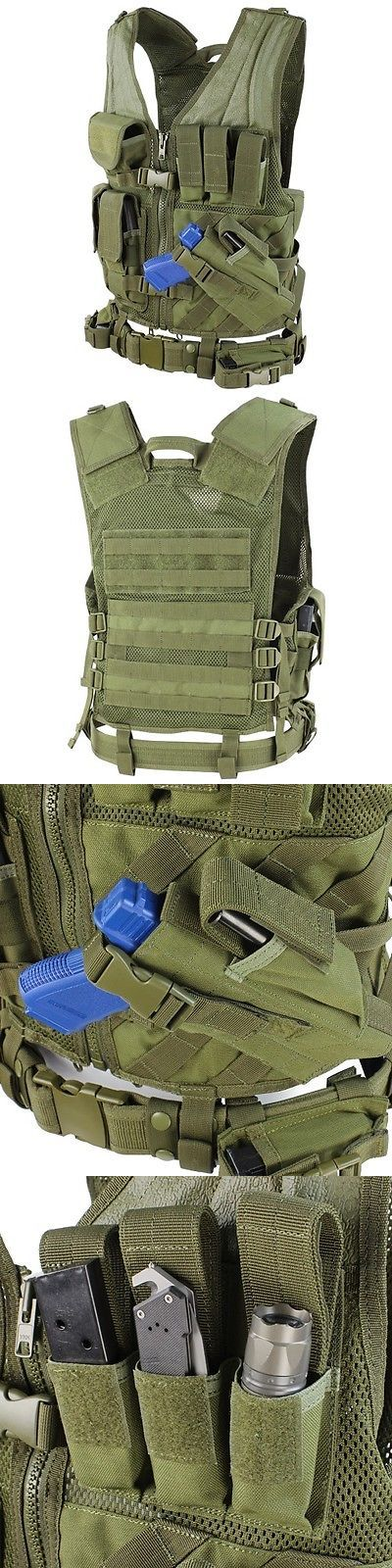 Chest Rigs and Tactical Vests 177891: Condor Xl/Xxl Military Cross Draw Tactical Chest Rig Vest W/ Holster Pouch Od BUY IT NOW ONLY: $62.95