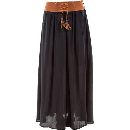 cette jupe longue et fluide noire est id ale pour un look boh me chic a associer un petit top. Black Bedroom Furniture Sets. Home Design Ideas