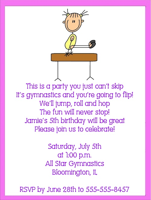 34 best images about Gymnastics Birthday Party Ideas – Gymnastics Party Invitation