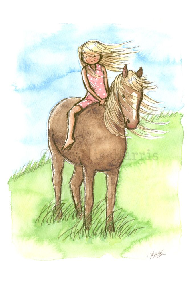 Kid's Wall Art Print - Horse Girl - Girl's room decor