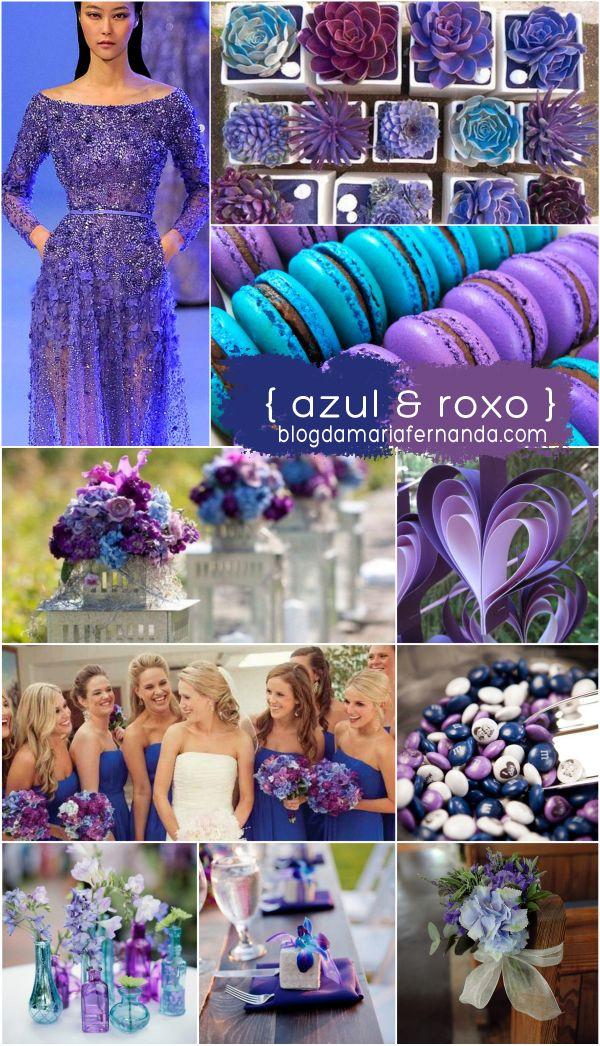 Decoração de Casamento : Paleta de Cores Azul e Roxo | http://blogdamariafernanda.com/decoracao-de-casamento-azul-roxo