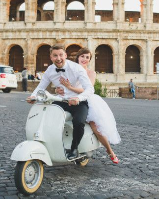 Let's elope to Italy and run around on a Vespa just like Audrey Hepburn in Roman Holiday. An Italian love story at the colosseum in the cutest shoes and a short, chic wedding dress! - Rochelle Cheever Photography http://www.confettidaydreams.com/audrey-hepburns-roman-holiday-italian-elopement/