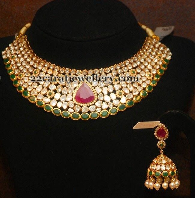 Jewellery Designs: Kundan Choker with Emeralds