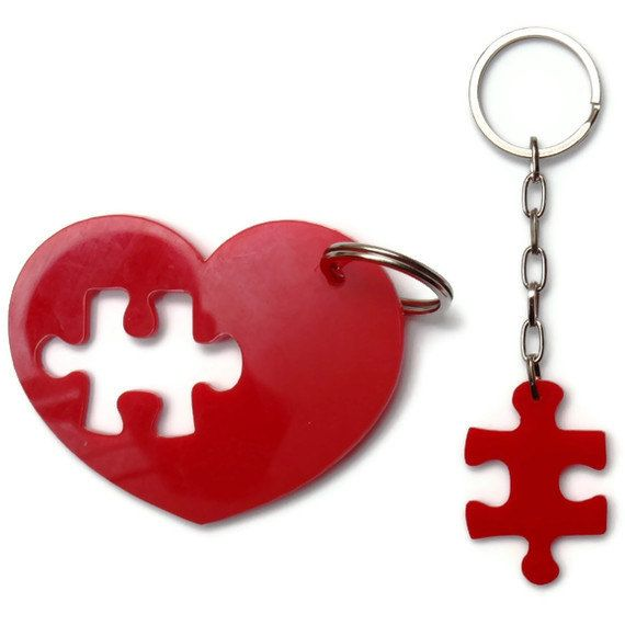 Puzzle Accessories, Key Chain Set,Plexiglass, Laser Cut Acrylic,Gifts Under 25. $15.00, via Etsy.