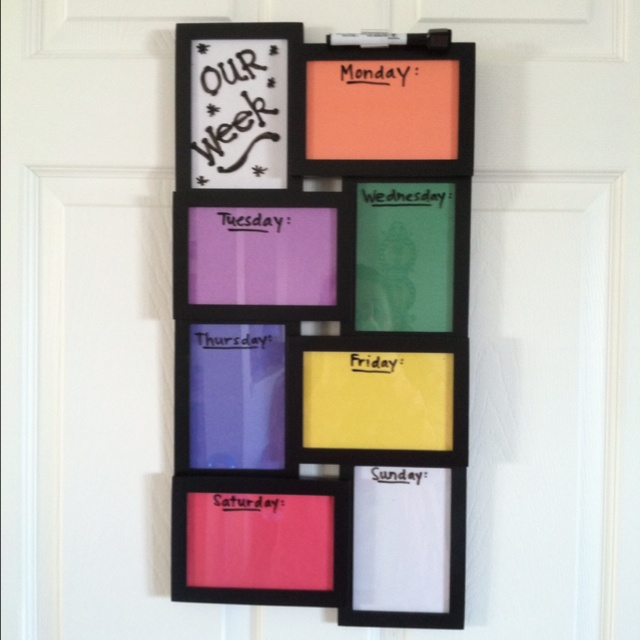 Got this idea from Pinterest and decided to recreate it! Easy way for the kids to see what is planned for the week :)