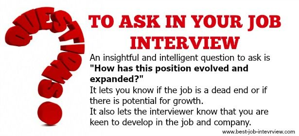 Insightful questions to ask in your job interview.