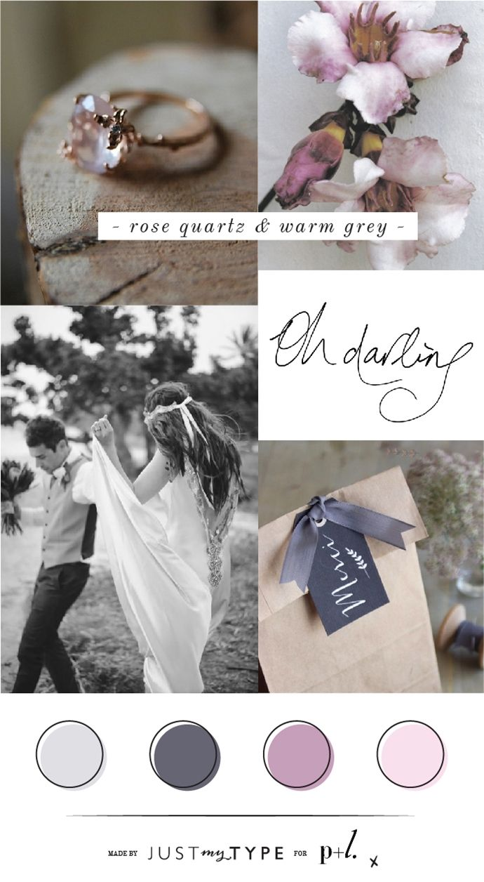 Rose Quartz Warm Grey Mood Board. CLICK here to see more: http://wp.me/p3O1vs-5WG - By  www.justmytype.co.nz for www.paperandlace.com #wedding #mood board #rose #grey #inspiration #purple