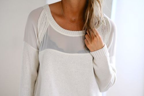 Pinned by -Estocolmo Kids from http://whoaaanellie.tumblr.com: White Sweaters, Black Bra, Dreams, Capes, White Shirts, Jumpers, Knits Sweaters, Deer, Mesh