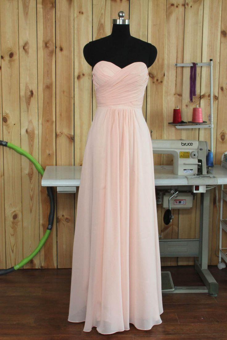 2015 Blush Bridesmaid dress, Long Wedding dress, Chiffon dress, Strapless dress…