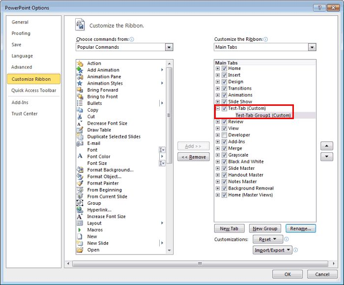 Adding #Commands to Custom Groups in #PowerPoint 2010 for Windows