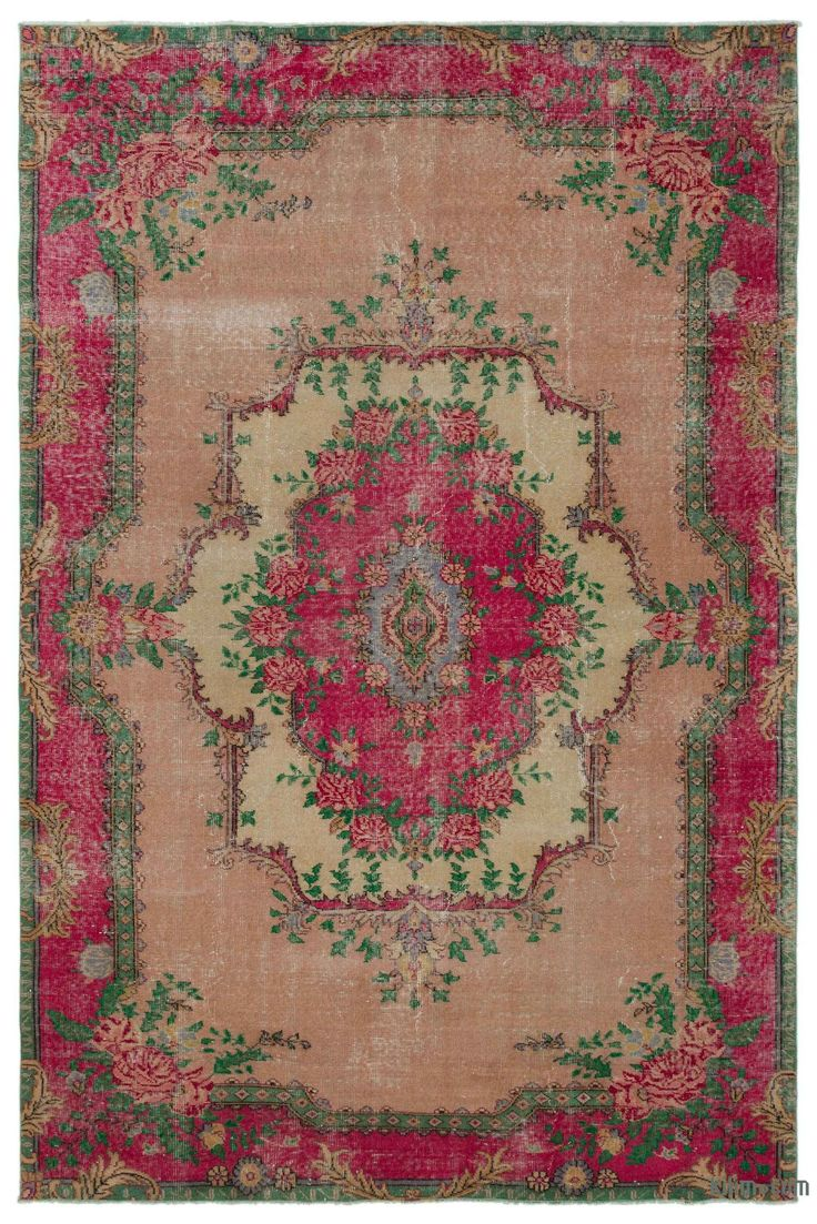 """For a contemporary look with a vintage appeal, we source rugs in excellent condition and carefully trim the piles to achieve an eye-catching """"distressed"""" look. Woven with wool on cotton, this fine rug measures 6'3'' x 9'5'' (190 cm x 286 cm). In addition to being unique and hand-made, these rugs make a very special statement about bridging generations of artisanal skill and knowledge over time with a charming look that complements any modern or bohemian décor. Check out our article Get The…"""