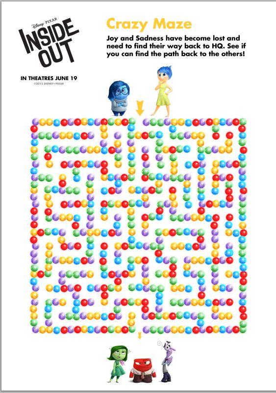 Maze Game Disney Pixar Inside Out Activity Sheets