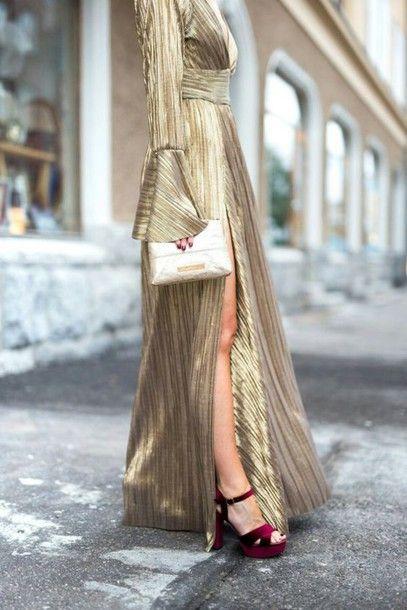 Dress: bell sleeve tumblr maxi gold slit bell sleeves sandals sandal heels high heel sandals velvet